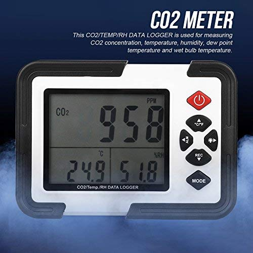 Digital CO2-Messgerät 9999ppm MonitorDatenlogger zur Messung der CO2-Konzentration, Temperatur ht-2000