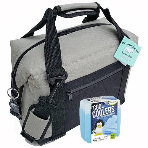 Polar Bear Coolers Nylon Solar Bear Series Soft Cooler Tote Size 12 Pack Silver & Fit & Fresh Cool Coolers Slim Ice 4-Pack (Bundle)