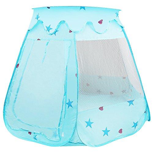 LEADSTAR Kinderspielzelt Spielhaus Kinderzelt Prinz Zelt Prinzessinnenzelt Schloss mit Tragetasche für Drinnen und Draußen (Blau)