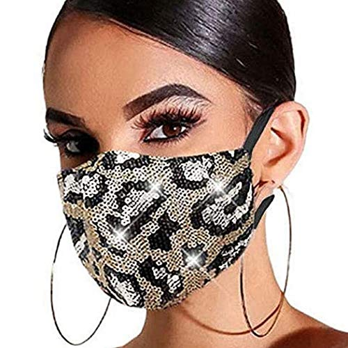 Gortin Sequin Glitter Mouth Cover Masquerade Sparkle Mouth Shield Washable Reusable Mouth Covering with Filter Pocket Nightclub Ball Party Venetian Mardi Decoration for Women and Girls (Leopard 1)
