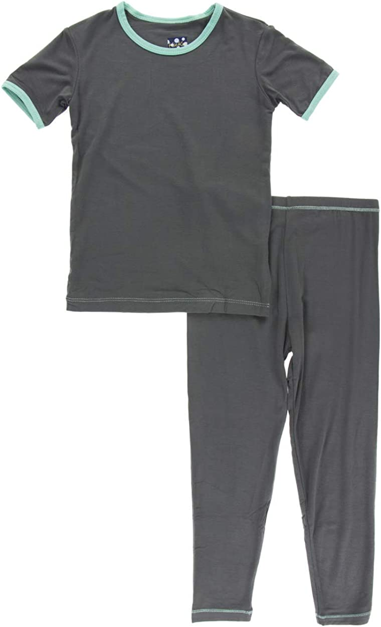 KicKee Pants Little Boys Solid Short Sleeve Pajama Set - Stone with Glass, 5 Years