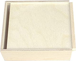 KF-Geschenke - Caja de Madera con Tapa Deslizante (180 x 150 x 60 mm)