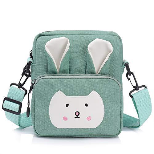 Wodasi Umhängetasche Kinder Mädchen Kleine Süße Handtaschen Kinder Prinzessin Mini Taschen Handtasche Mädchen Klein Hase mit Verstellbarem Gurt für Kinder Mädchen, Segeltuch, Hellgrün