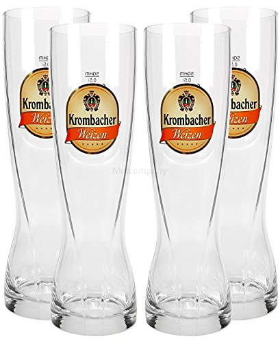 Krombacher Weizen Bierglas Biergläser Set - 4x Gläser 0,5l geeicht