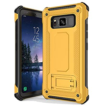 Anccer Armor Series for Samsung Galaxy S8 Active Case with Kickstand Anti Shock Dual Layer Anti Fingerprint Protective Cover for Galaxy S8 Active  Yellow