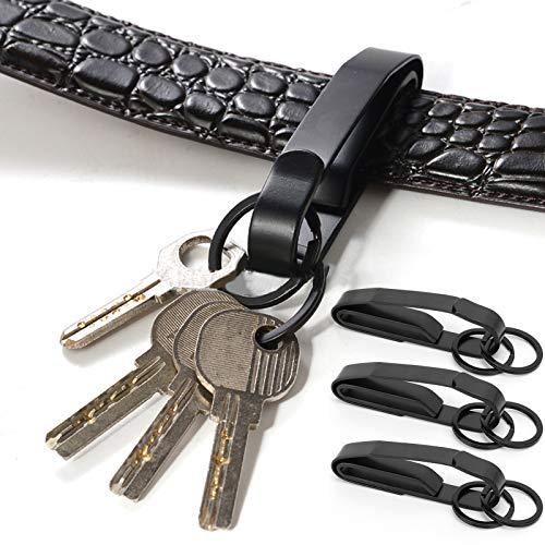 Deror Hebilla de cinturón de Llavero, 3 Juegos de Hebilla de cinturón de Llavero de Acero Inoxidable con Hebilla Colgante de Llavero para Exteriores