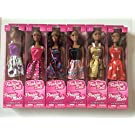 """African-American Fashion Dolls, 11"""". Set of 6 with different clothes. Introduce them to your Barbie collection. Great favors for Birthday Party gifts. By TBC Home Decor."""