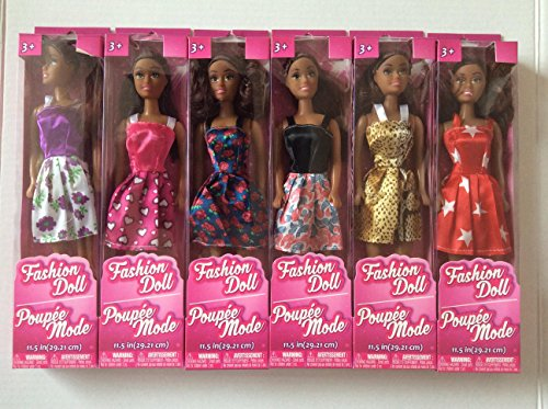 African-American Fashion Dolls, 11'. Set of 6 with different clothes. Introduce them to your Barbie collection. Great favors for Birthday Party gifts. By TBC Home Decor.