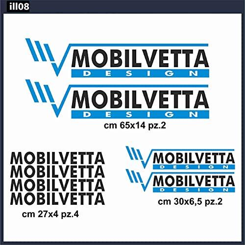 Generico Kit Adesivi MOBILVETTA 8 Pezzi- Vari Colori Disponibili- Adesivi per Auto Camper Caravan furgoni in Vinile prespaziato