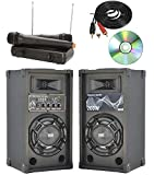 impianto karaoke pronto all'uso 2 casse attive bluetooth + microfoni wireless + cavo pc + software pc karaoke