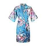 EPLAZA Kids Girls Floral Satin Robe Bathrobe Sleepwear for Spa Party Birthday Wedding (Acid Blue, Tag 8)