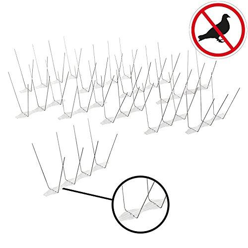 Lifetime Garden Vogelabwehrspitzen | Taubenabwehr | Edelstahl Vogelspikes | 1,65 m | 10 Panels |einfache Montage | individuell kürzbar (6,60m=40 Stück)