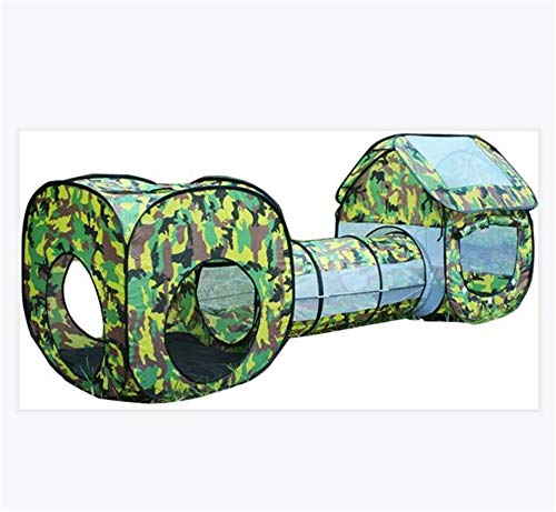 BCLGCF Kids Play Tent and Tunnel 3 En 1 Carpa Emergente para Niños Pequeños Túnel De Rastreo Casa De Juegos Pelota Pit Carpa De Juguete De Camuflaje Plegable, Casa De Juegos De Jardín para Niños