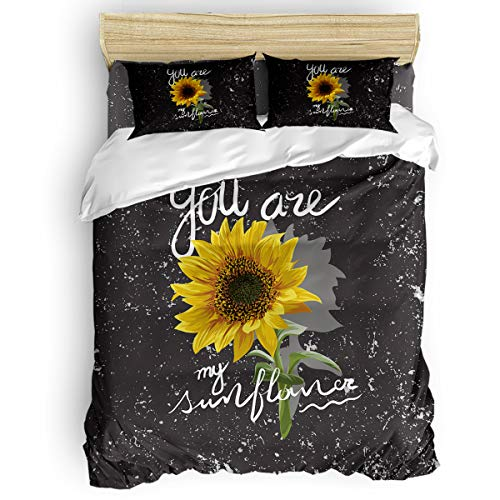 Duvet Cover Set 4 Pieces,Super Soft Bedding Down Comforter Cover with Zipper Closure, Machine Washable Breathable Microfiber Polyester Duvet Cover,Sunflowers You are My Sunshine Full