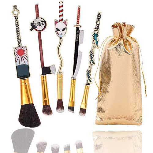 5pcs Demon Slayer Makeup Brush Set Demon Slayer Kimetsu no Yaiba Cosplay Gift Makeup Brush
