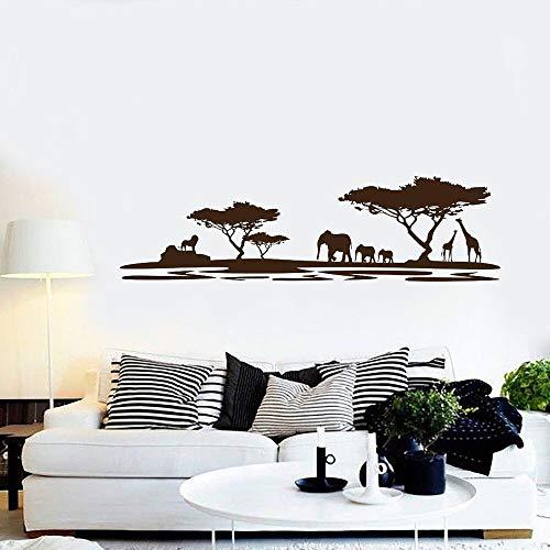 fdgdfgd Baum Wanddekoration Kunst Wandaufkleber Baum Safari Lebensszene Junge Wald Schlafzimmer Schlafzimmer Dekoration Kinderzimmer Tapete 42x143cm