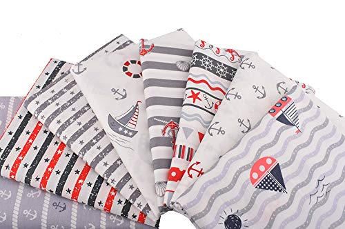 8 Telas marineras para cojines, vestidos, costura, colchas, toallas, banderines, caravanas, guirnaldas, manualidades, patchwork, costura 40 x 50 cm de CHIPYHOME