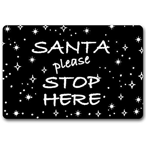 Maplehouse Thème de Noël Funny Paillasson (Santa Please Stop Here) personnalisé Durable Lavable en Machine Intérieur/extérieur Paillasson 59,9 cm (L) x 39,9 cm (L) Pouces