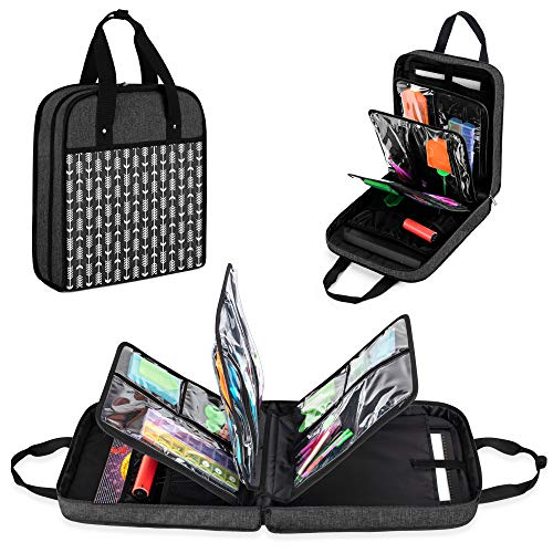 YARWO Carrying Case for Diamond Painting A4 Light Pad, Diamond Painting Storage Bag for LED Light Box and Diamond Art Tools, Black with Arrow (Patented Design)
