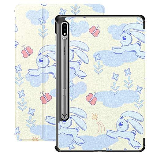 Funda Galaxy Tablet S7 Plus de 12,4 Pulgadas 2020 con Soporte para bolígrafo S, patrón gráfico Conejo Azul Flores Mariposas Funda Protectora con Soporte Delgado para Samsung
