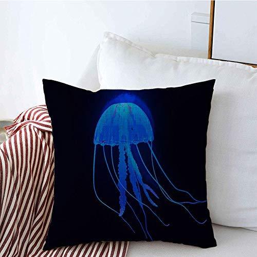 Fundas para almohada Funda de Cojine Funda de cojín Espuma de medusa Agua interesante Preparación de animales Mariscos Fauna encantadora Clima Vida sin sal Cojine Fundas Almohada 45X45CM