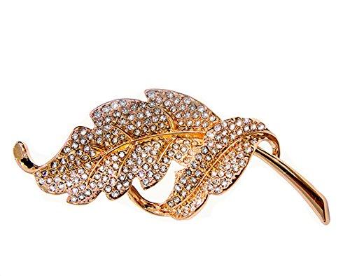 La broche de la hoja vivacità magnífica con cristales Swarovski oro de 18 quilates chapado en regalo de calidad para las mujeres (de oro rosa)