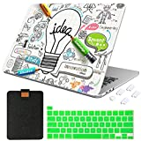 MTAOTAO Apple MacBook Pro 13 Inch Case 2020 Touch Bar & ID Model A2289 A2251 A2338 M1, Durable Plastic Hard Shell Case & Laptop Sleeve Bag & Keyboard Cover 4 in 1 Set, Creative Bulb 1