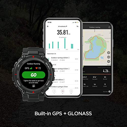 Huami Amazfit T-Rex Smart Watch with 20 Days Battery Life, AMOLED Display, Built-in GPS, 12 Military Certifications, Water Resistance, 14 Sports Modes (Rock Black)