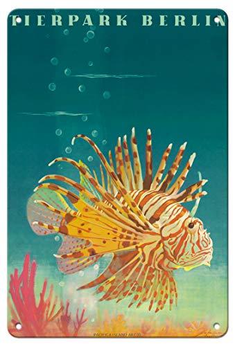 Pacifica Island Art - 22 x 30 cm Metallschild - - Feuerfisch - Zoo und Aquarium - Retro Museums Plakat von Horst Naumann c.1964