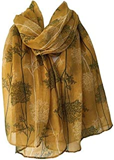 e97ec36619107 Purple Possum® Scarf Mustard Yellow White Green Tree Print Ladies Wrap Shawl,  Trees Floral