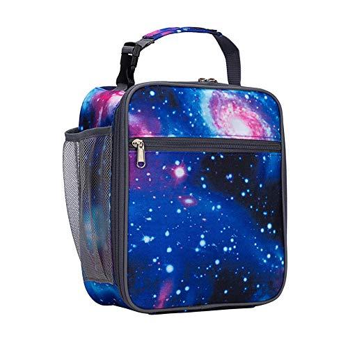 Kinderen kinderen kinderen kinderen lunch koeltas, leuke bedrukte mode jongens meisjes afneembare handgreep draagbare geïsoleerde lunchbox tas Galaxy