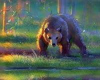 番号による絵画Diyビッグサイズクマ茶色の反射水キャンバス部屋の装飾アート画像子供ギフト番号によるペイント大人のためのキットカラー原稿 カスタマイズ可能 40x50cmフレームなし