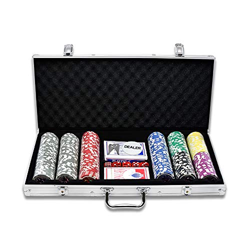Aufun Pokerkoffer 300 Chips Laser Pokerchips 12 Gramm Metallkern, inkl. 2X Pokerdecks, 5X Würfel, Dealer Button, Poker-Set mit Silber Aluminium Gehäuse mit 2 Schlüssel