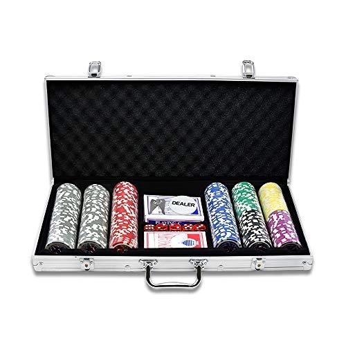 UISEBRT Pokerkoffer Set 300 Chips - Pokerset Laser inkl. 2X Pokerdecks, 5X Würfel, 1x Dealer Button (300 Chips, Silber Aluminium-Gehäuse)