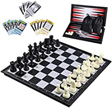 iBaseToy 3 in 1 Magnetic Travel Chess Set 2.0 Upgraded Version for Kids and Adults, Chess Checkers Backgammon Set with a Larger Size Folding Chess Board and Storage Bag, 12.6