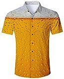 Goodstoworld Camisa Colorida para Hombre Camisas Vacaciones Ocasionales 3D Taza Personalizada Cerveza impresión Camisa Ajuste Regular para el Verano XXL