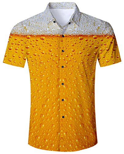Goodstoworld Freizeithemd Herren Slim Fit Hemd Orange Beer Kurzarm Regular Männer Sommer Freizeit Kleidung Shirt 3D Gold