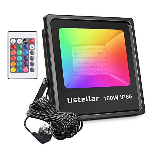 Ustellar 100W Foco LED RGB Exterior con Control Remoto de 16 Colores, Novostella Proyector LED Impermeable IP66, 4 Modos de Brillo Intensidad Ajustable Decoración de Jardín, Patio, Party, Boda