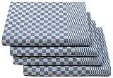 ZOLLNER 4 paños de Cocina a Cuadros Azules, Extra Grandes, 54x100 cm, algodón
