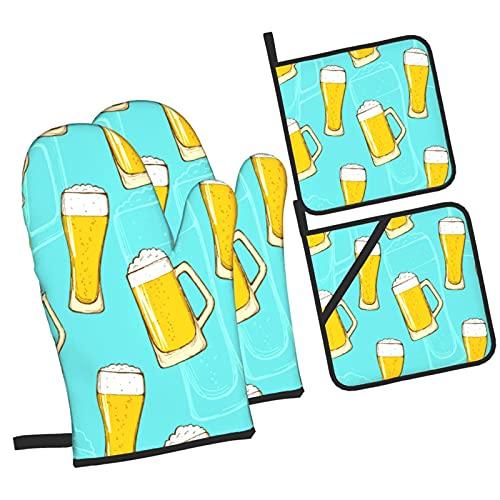 Cerveza Dibujo a Mano alzada, Coloridos Vasos de Cerveza Cerveza Oktoberfest,Juegos de Manoplas para Horno y Porta Ollas,4Pcs Impermeable Guantes Almohadillas para Cocina Cocinar Hornear Barbacoa