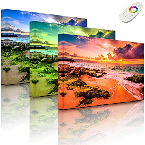 Lightbox-Multicolor | Wandbild mit LED Beleuchtung | Sonnuntergang auf Hawaii | 100x70 cm | Fully Lighted