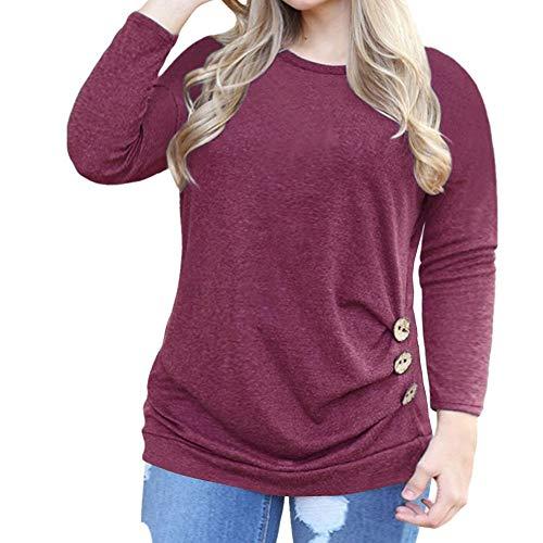 x8jdieu3 Frauen Herbst lässig komfortable Rundhals Knopfdekoration Langarm-T-Shirt einfarbig Mode Sweatshirt Shirt Bluse
