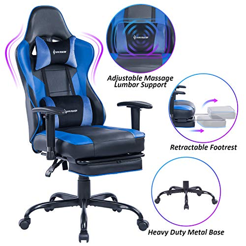 VON RACER Massage Gaming Chair - High Back Racing PC Computer Desk Office Chair Swivel Ergonomic Executive Leather Chair with Footrest and Adjustable Armrests, Blue/Black blue chair gaming