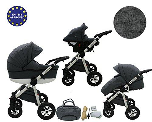 QUERO Lin Matériau - Landau pour bébé + Siège Auto - Poussette - Système 3en1 + Accessoires (Système 3en1, Lin Matériau N ° 6)
