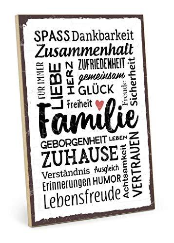 TypeStoff Holzschild mit Spruch – Familie – im Vintage-Look mit Zitat als Geschenk und Dekoration zum Thema Freude, Sicherheit und Achtsamkeit (19,5 x 28,2 cm)