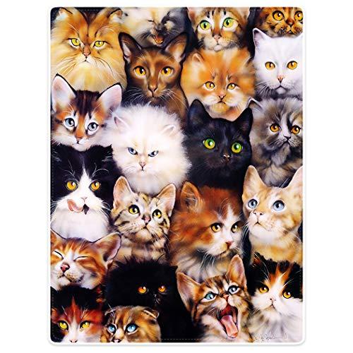 YISUMEI Decke 125x150 cm Kuscheldecken Sanft Flanell Weich Fleecedecke Nettes Katzen Zucht Collagen Haustier