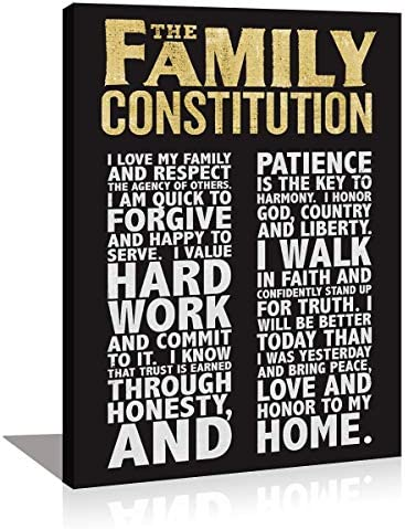 Family Constitution Motivational Quotes Framed Wall Art Decor Inspirational Motto Canvas Prints product image