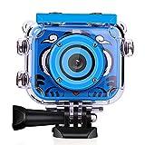 Wimaha Cámara Digital para niños 1080P HD Videocámara de acción Recargable Video subacuático Festival de cumpleaños a Prueba de Agua Regalo de Juguete para niños Niños Niñas con Pantalla LCD 2.0