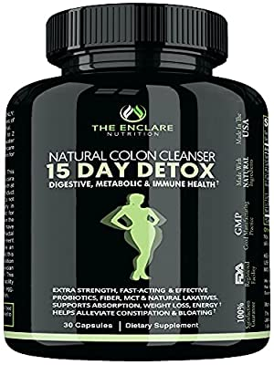 COLON CLEANSER DETOX FOR WEIGHT LOSS. 15 Day Fast-Acting Detox Cleanse, Extra-Strength Natural Laxatives, Probiotic, Fiber: Constipation Relief, Reduce Bloating, Toxins, Boost Energy, Focus & Immunity by Enclare