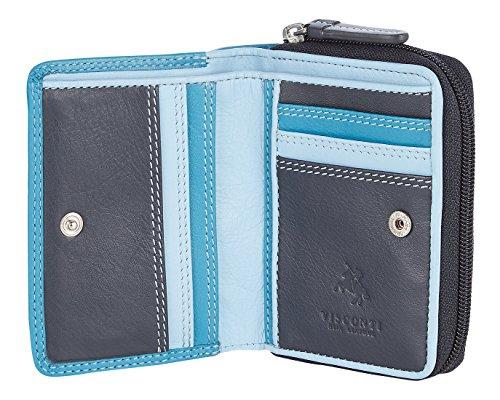 Visconti ® Leder Geldbeutel Damen RFID Schutz Geldbörse Damen Portemonnaie Bifold Mehrfarbig Portmonee in Geschenk-Box - ''Rainbow''
